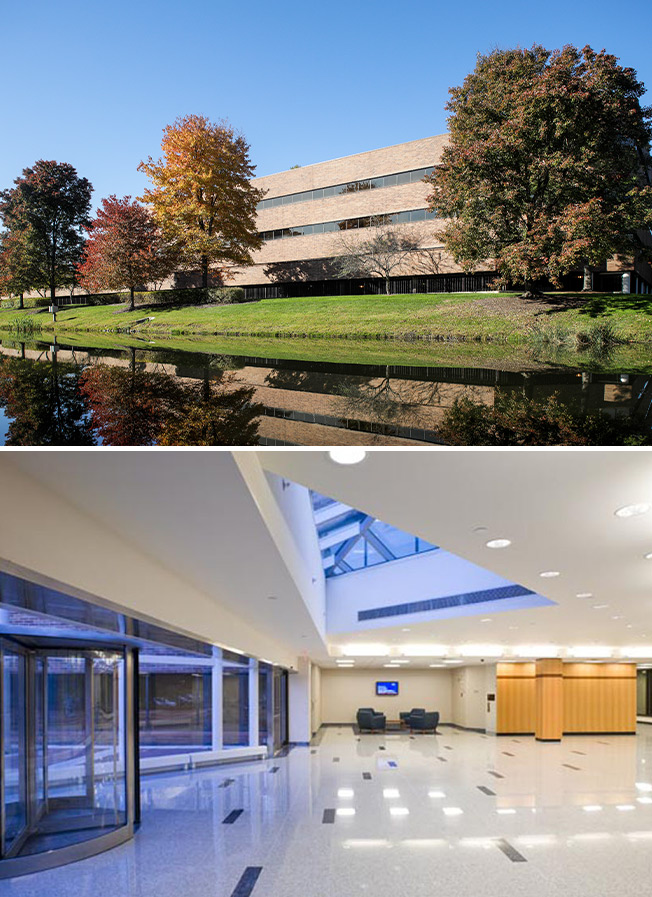 7 Campus Drive lobby interior and exterior
